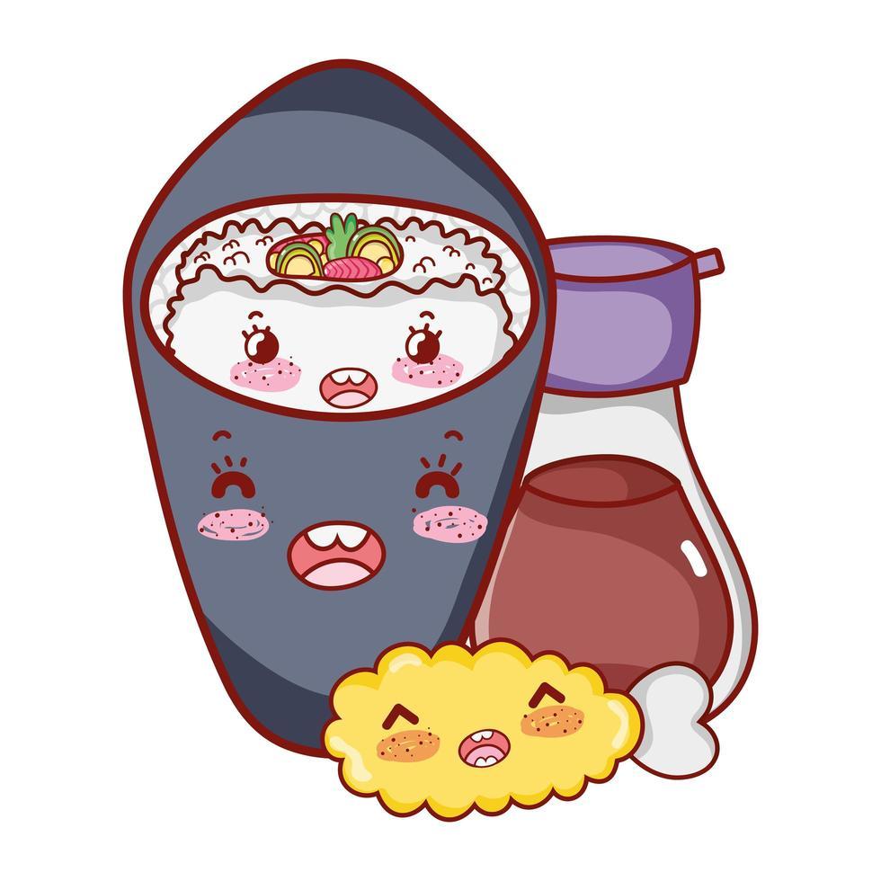 sake kawaii pescado carne comida dibujos animados japoneses, sushi y rollos vector