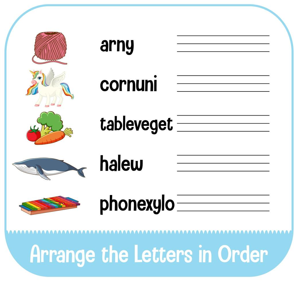 Arrange the letters in order with pictures vector