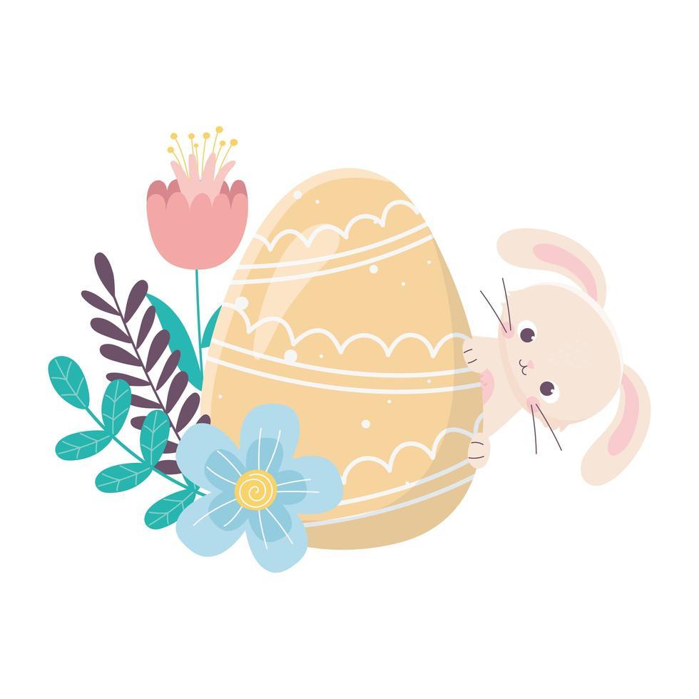 feliz día de pascua, conejo huevo amarillo flores follaje deja decoración vector