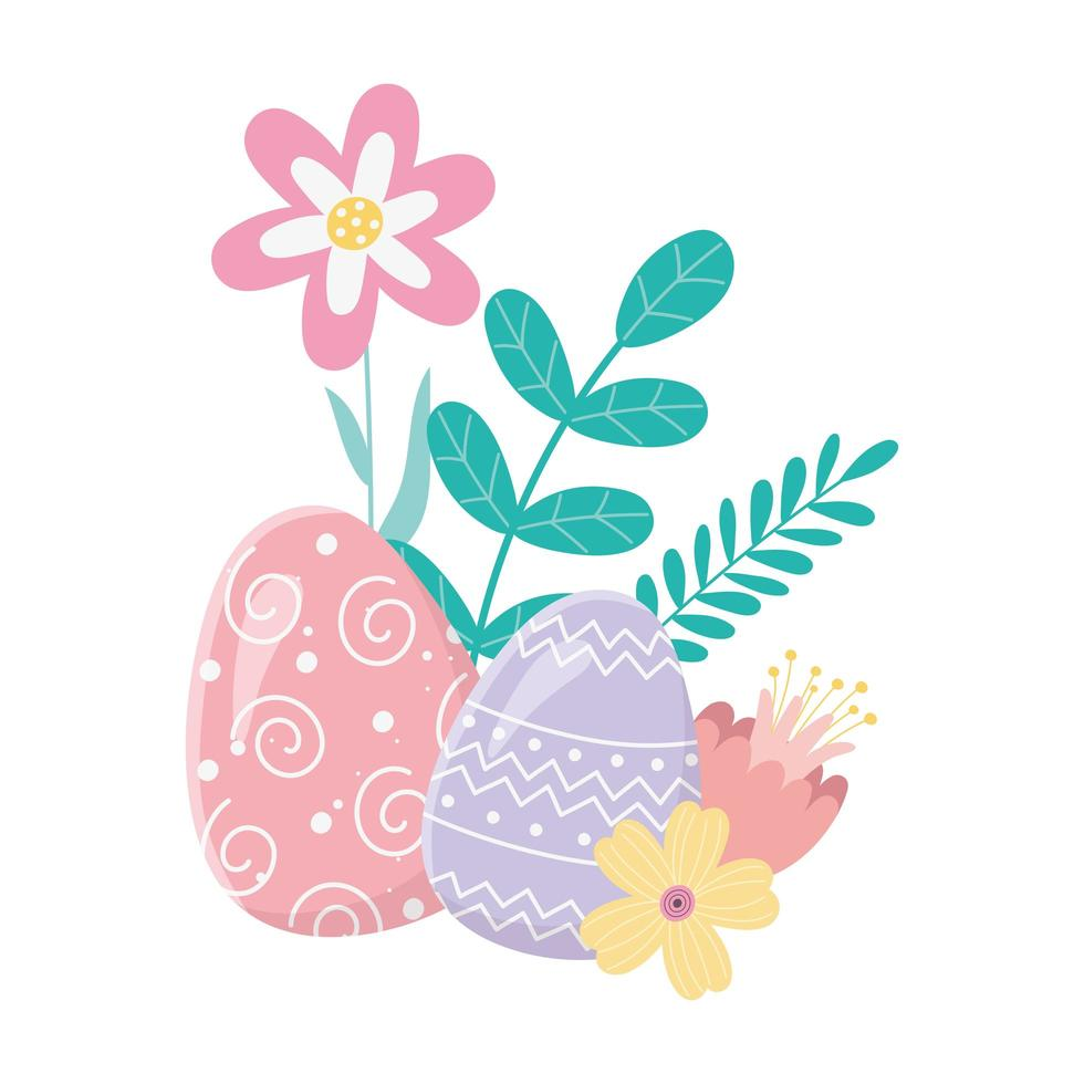 happy easter day, decorative eggs flowers foliage leaves card vector