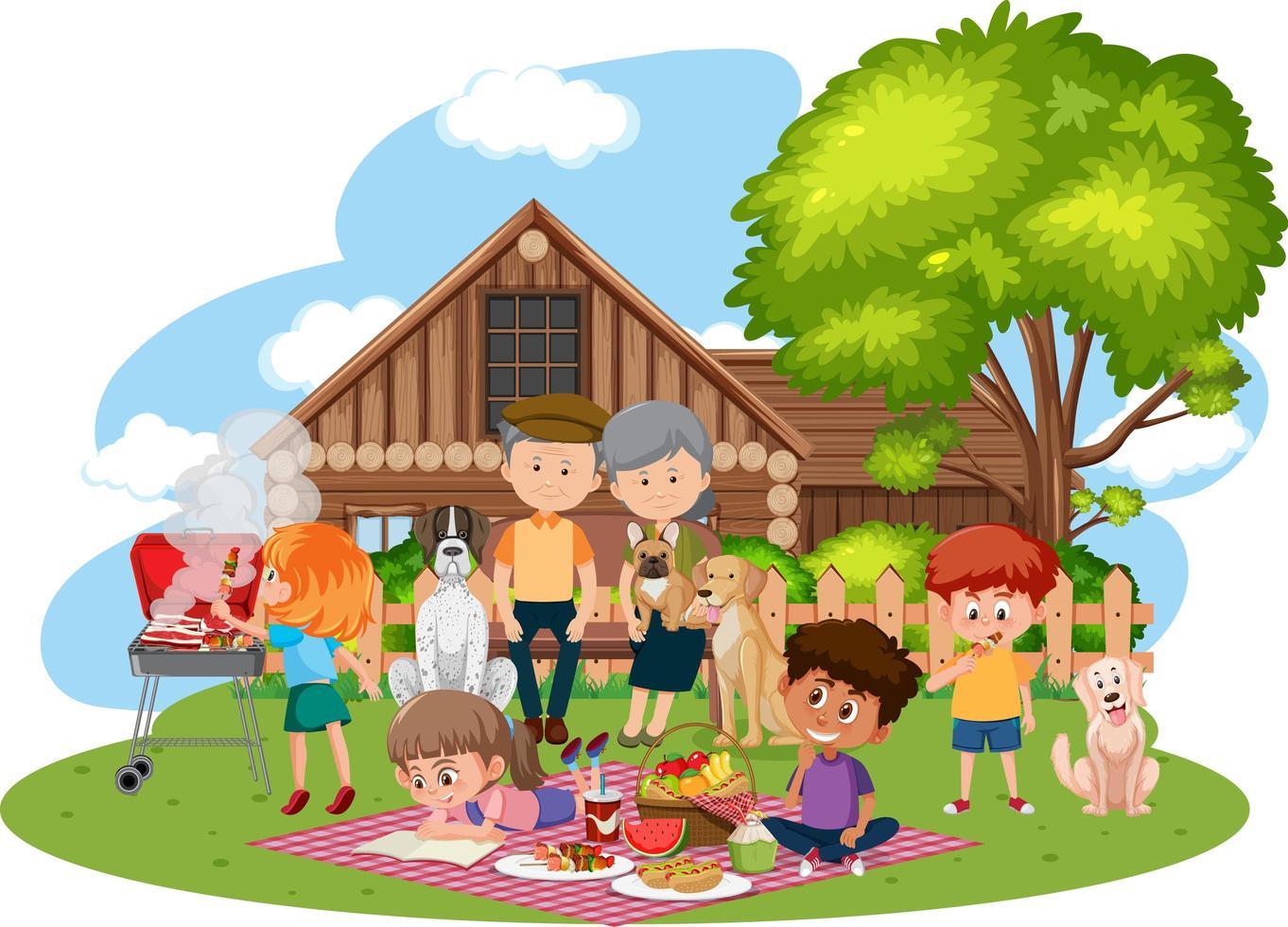 picnic familiar feliz en el jardín vector