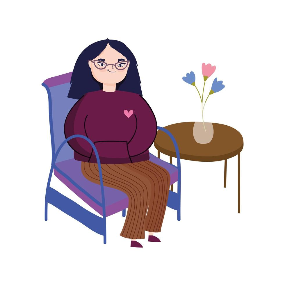 young woman wearing glasses sitting in chair vector