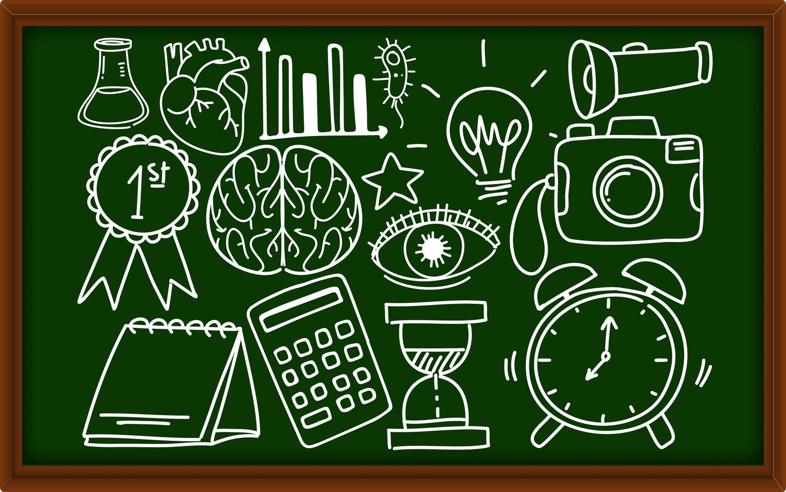 Different doodle strokes about school equipment on chalkboard vector