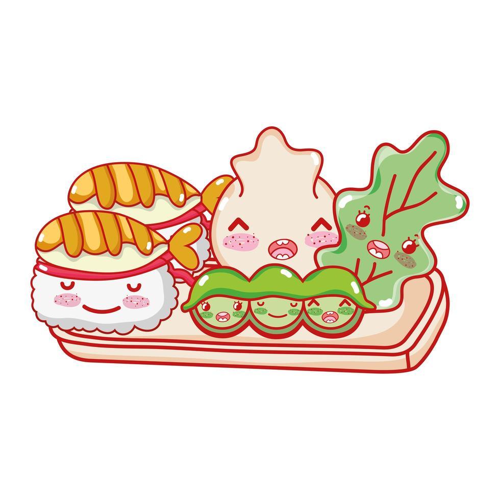 kawaii sushi dumpling guisantes y comida dibujos animados japoneses, sushi y rollos vector