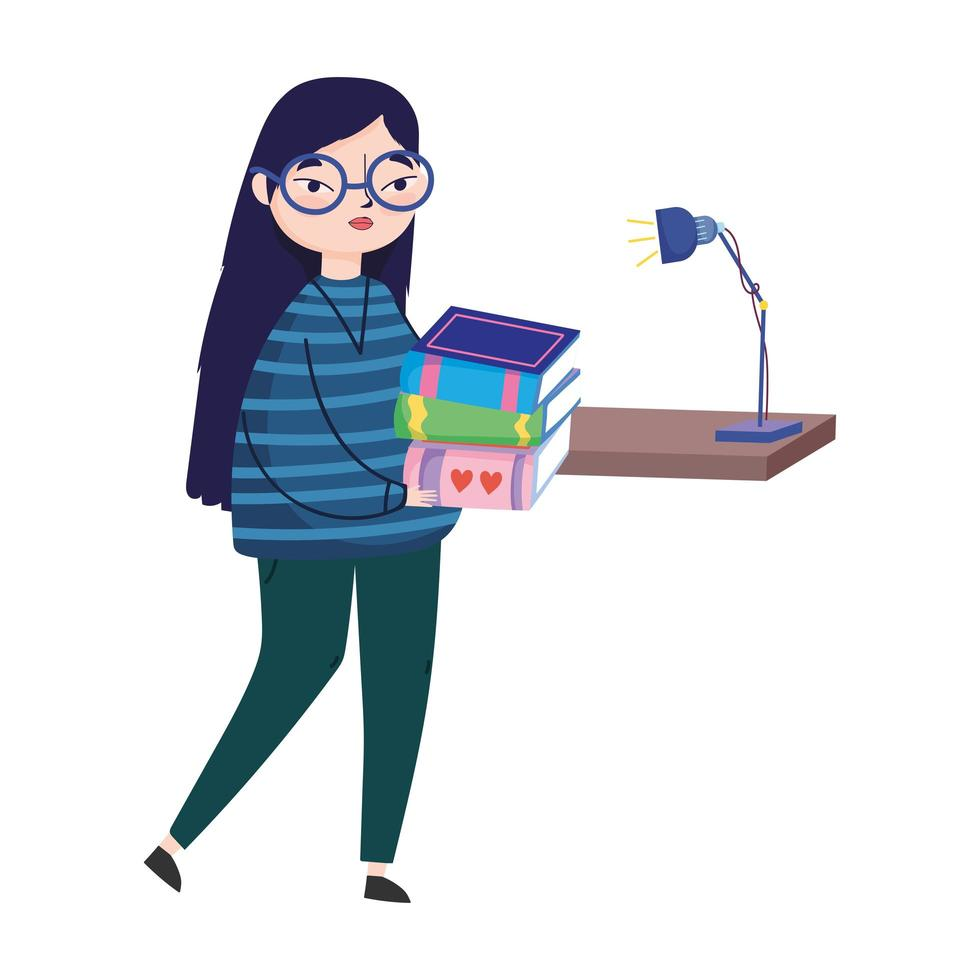 young woman books and bookshelf lamp decoration, book day vector