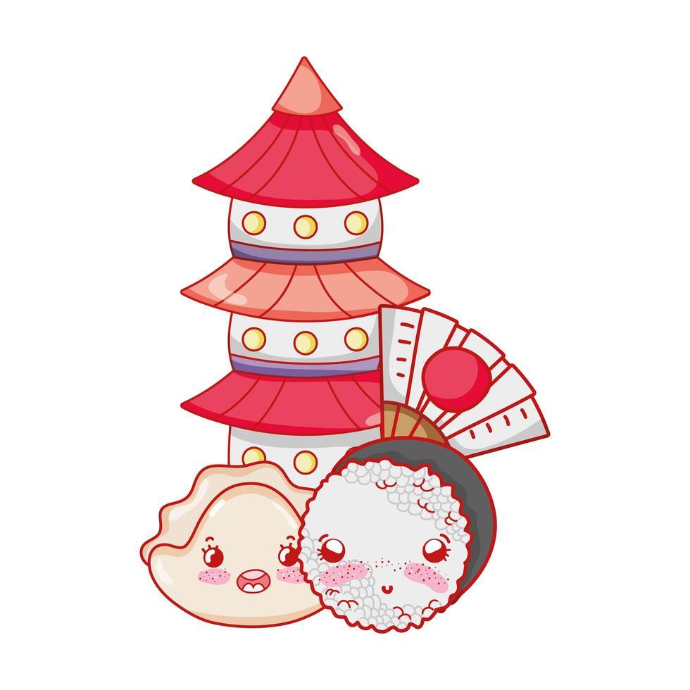 Pagoda de sushi kawaii y dibujos animados japoneses, sushi y rollos vector