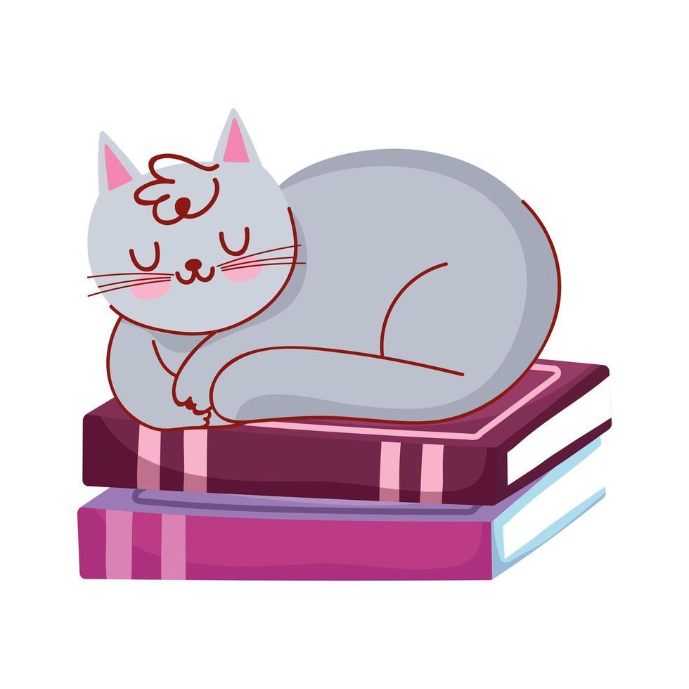 gato durmiendo en la pila de libros, día del libro vector