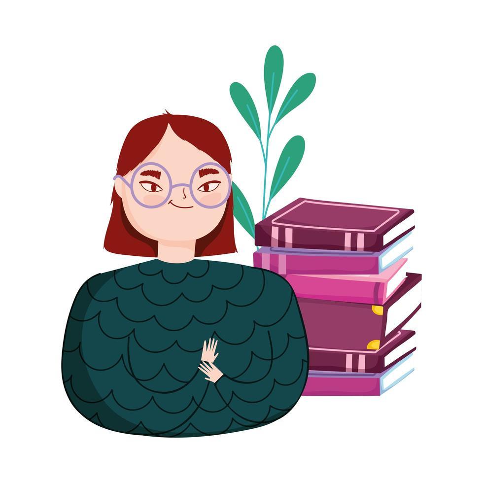 mujer joven con pila de libros, día del libro vector