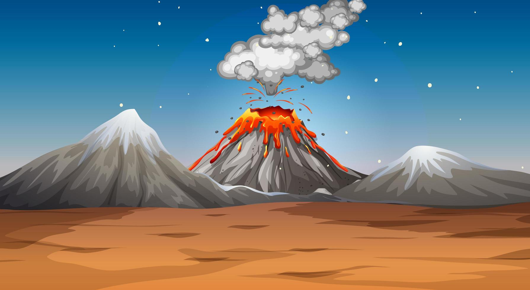 Volcano eruption in desert scene at night vector