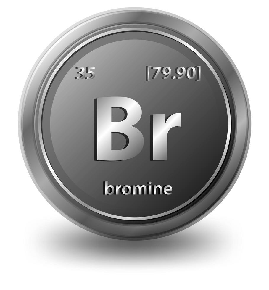 elemento químico bromo. símbolo químico con número atómico y masa atómica. vector