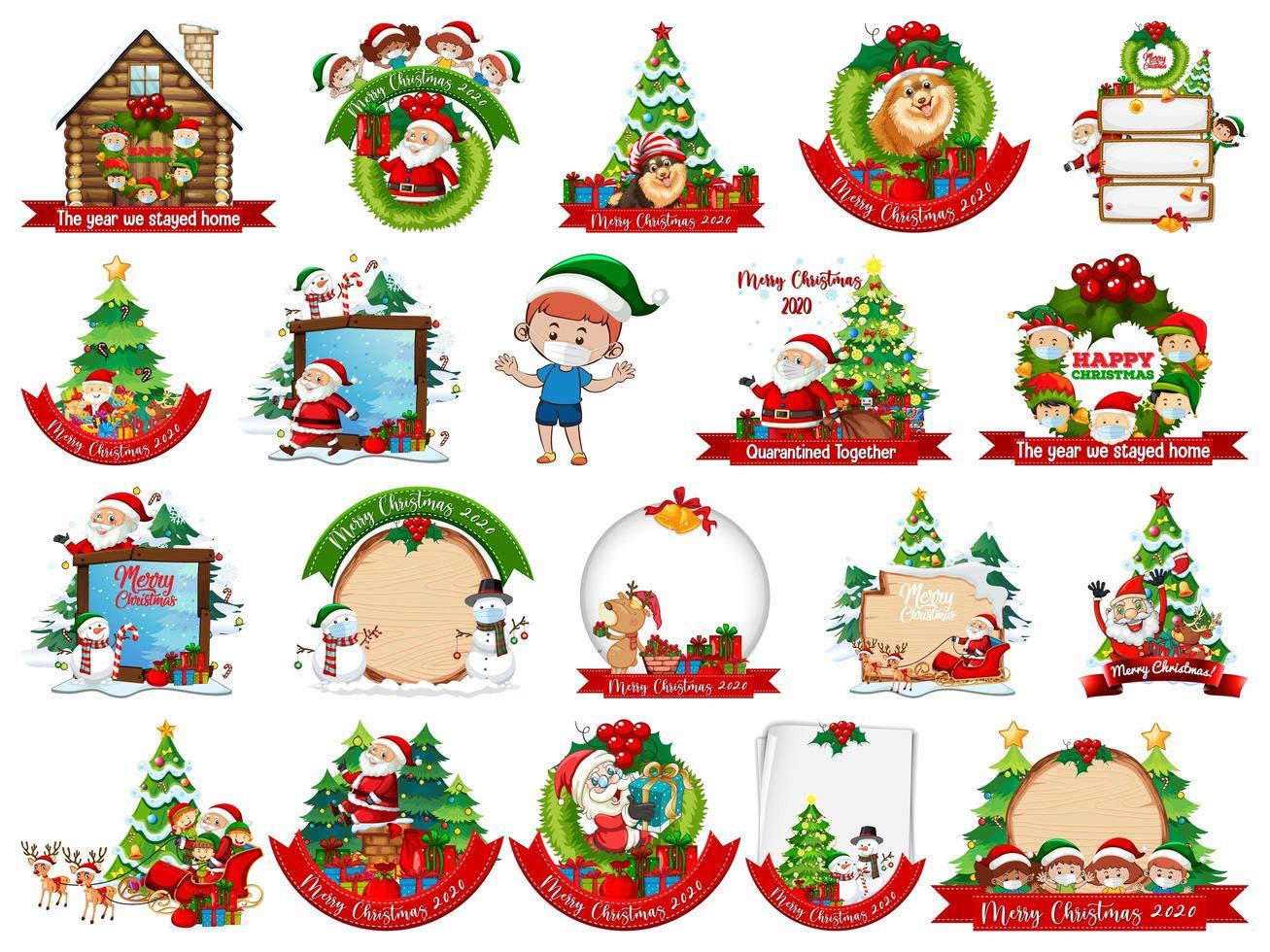 Conjunto de plantilla de tarjeta de Navidad en blanco aislado sobre fondo blanco. vector