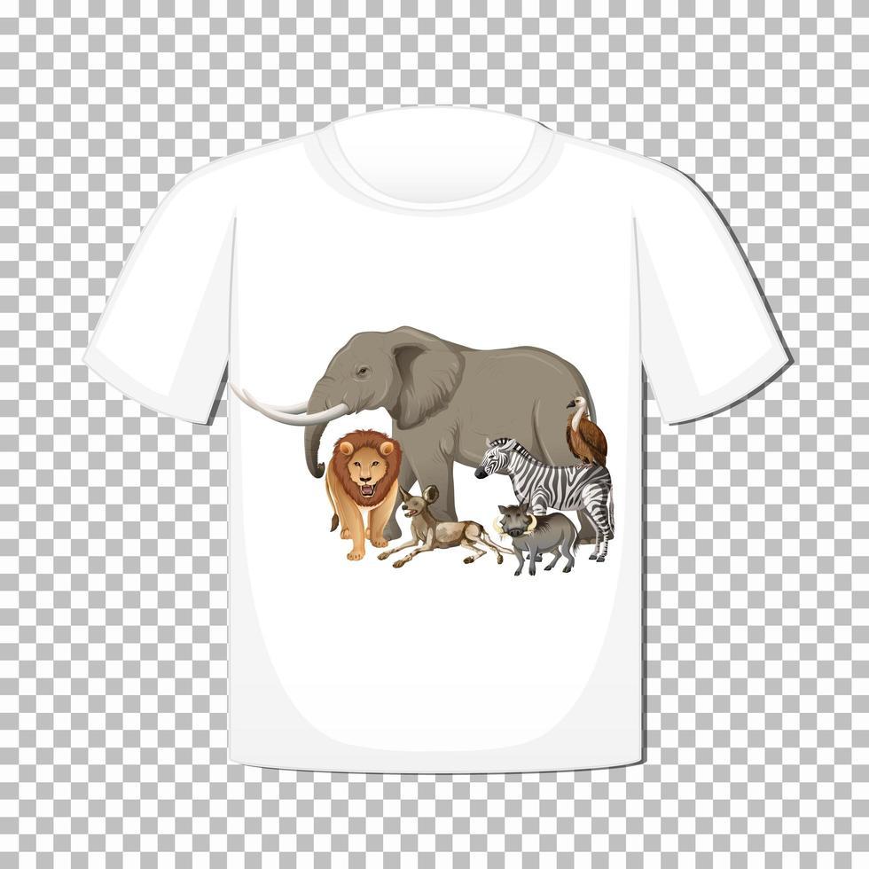Diseño de grupo de animales salvajes en camiseta aislado sobre fondo transparente vector