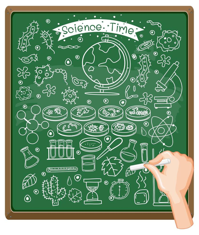 Hand drawing science element on chalkboard vector