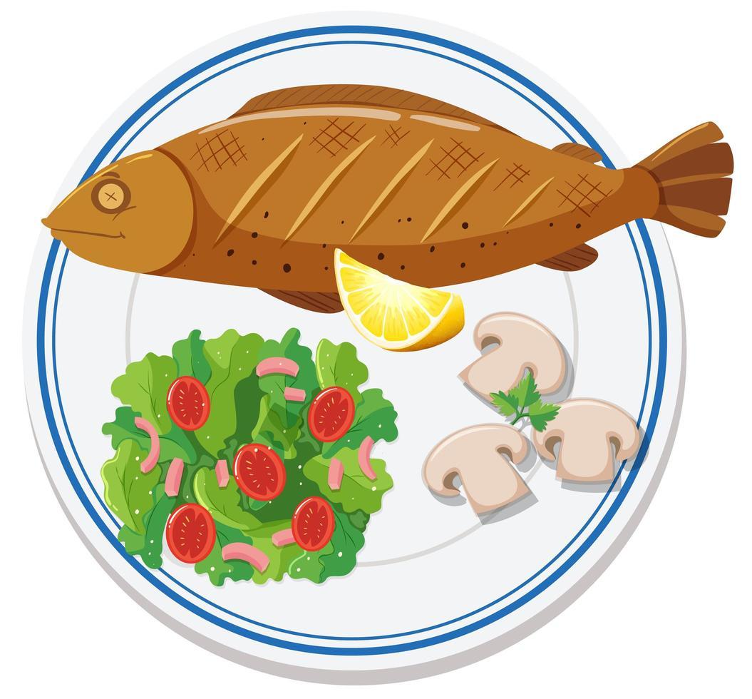 vista aérea de la comida en el plato vector