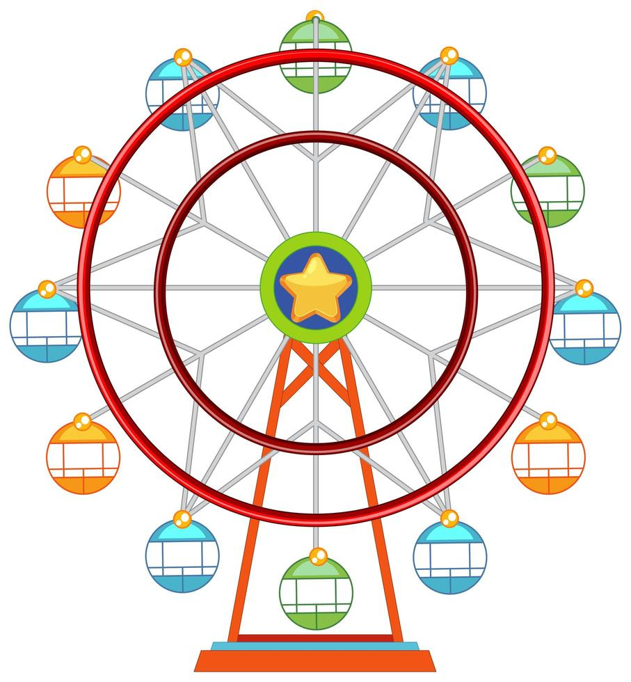 Ferris wheel colorful isolated on white background vector