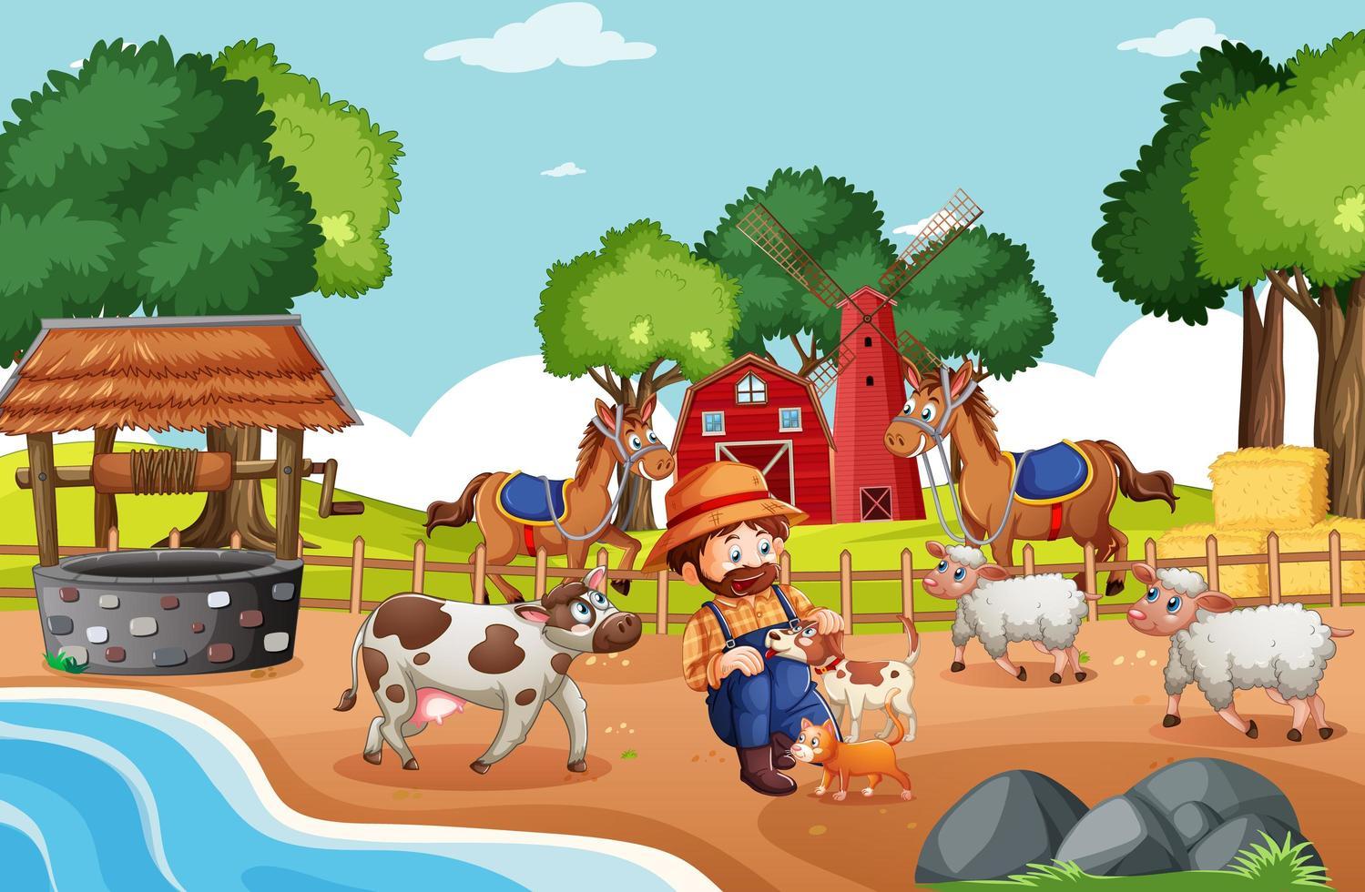 viejo macdonald en una escena de rimas infantiles de granja vector