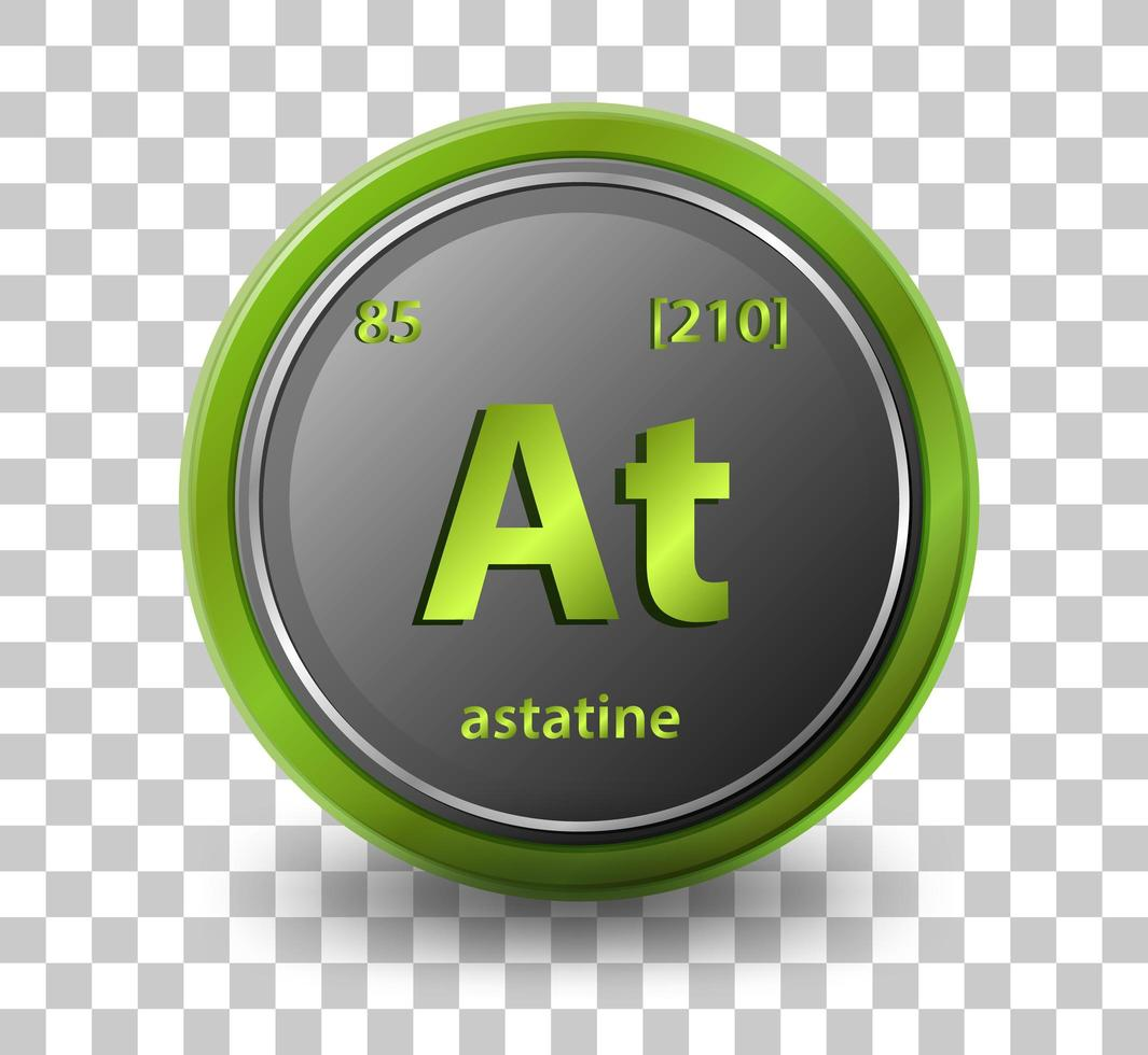 Astatine chemical element. Chemical symbol with atomic number and atomic mass. vector