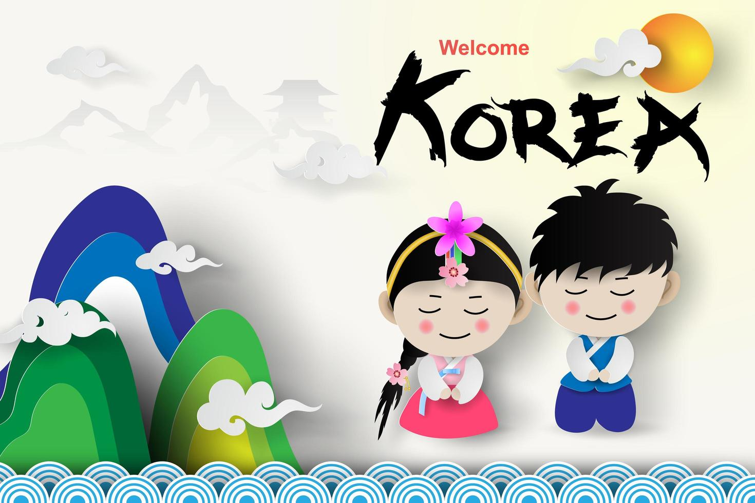 Welcome Travel Tourism Korea Traditional Boy and Girl vector