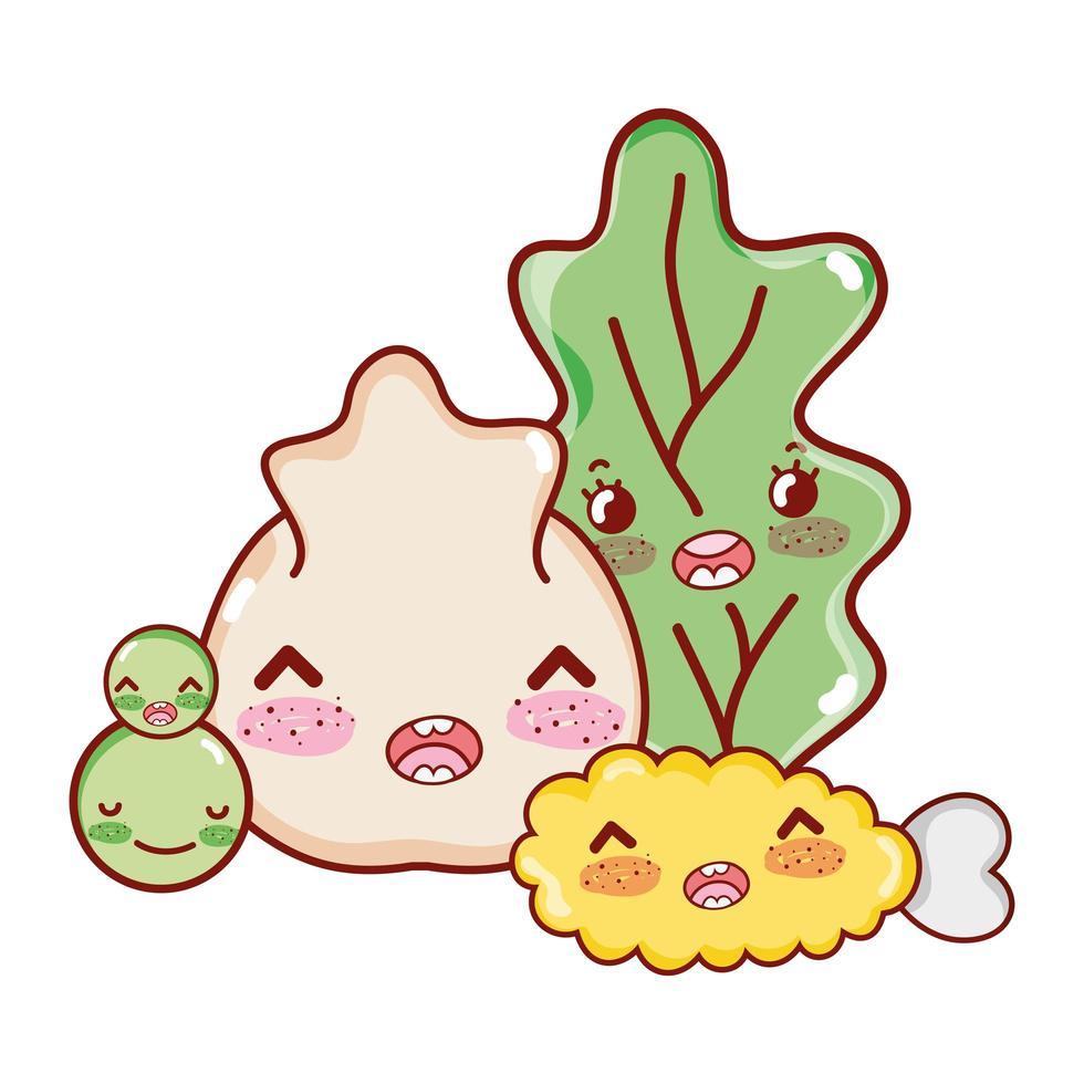 kawaii chicken tempura vegetables and dumpling japanese cartoon, sushi and rolls vector