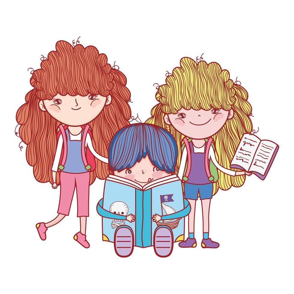 little girls and boy with books cartoon isolated design vector
