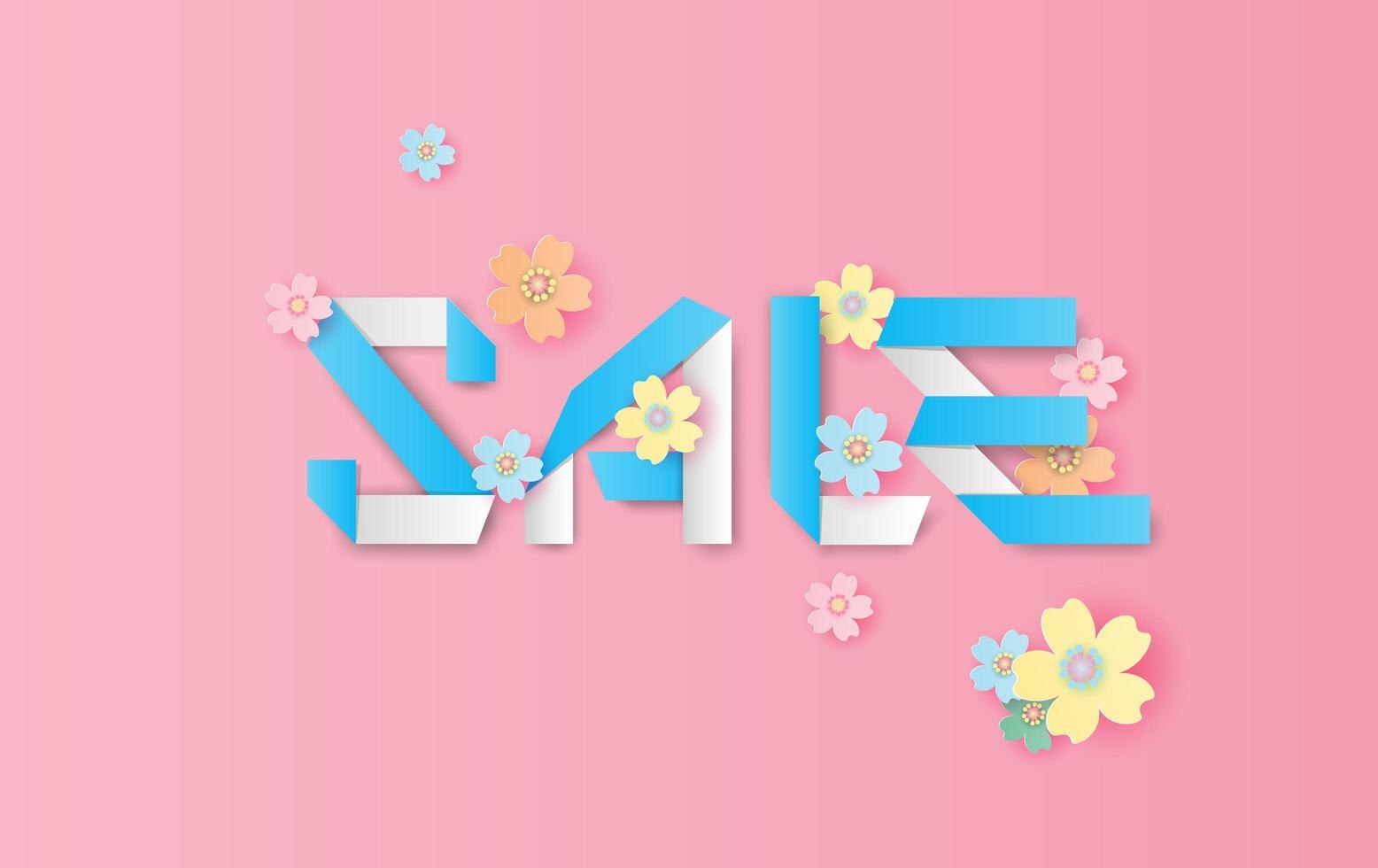 Fondo de banner de venta de primavera de arte y artesanía en papel vector
