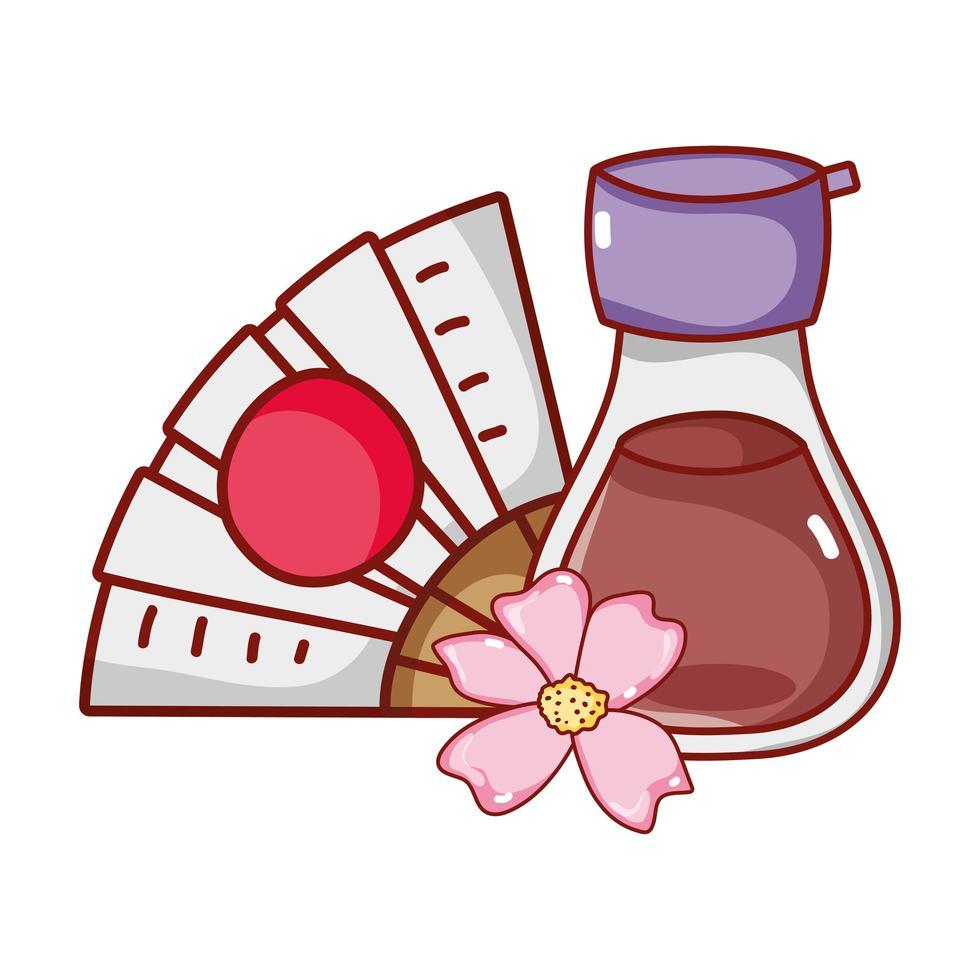 abanico de sake kawaii y comida de flores de sakura dibujos animados japoneses, sushi y rollos vector
