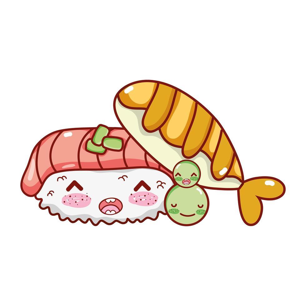 kawaii nigiri sushi pescado y guisantes comida dibujos animados japoneses, sushi y rollos vector