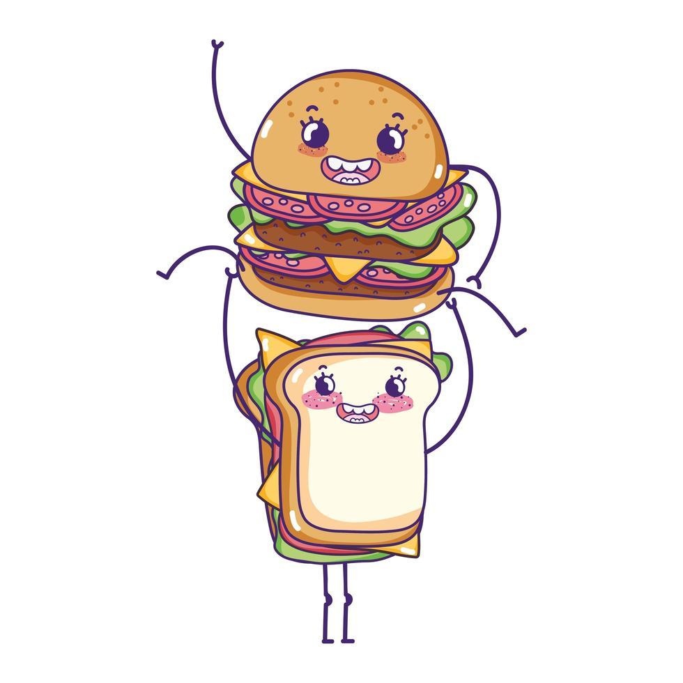 hamburguesa linda de comida rápida con dibujos animados de sándwich vector