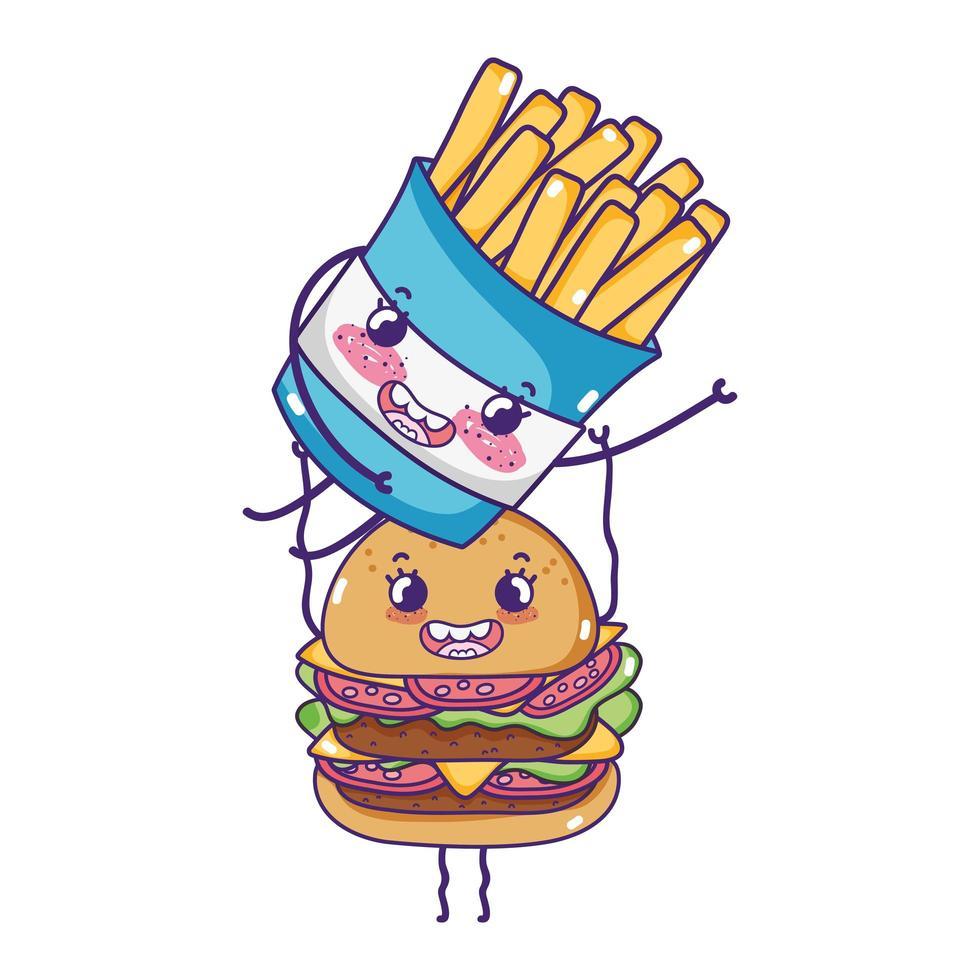 hamburguesa linda de comida rápida con dibujos animados de papas fritas vector