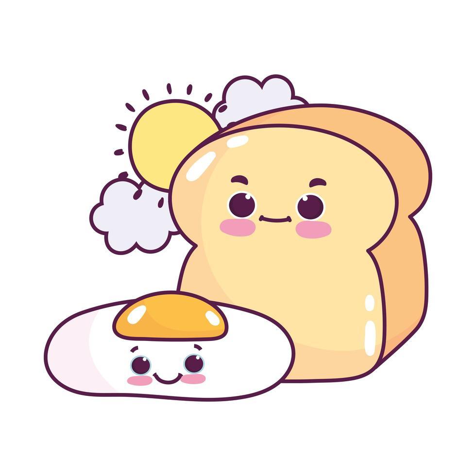 comida linda desayuno pan y huevo frito pan blanco postre dulce pastelería dibujos animados diseño aislado vector