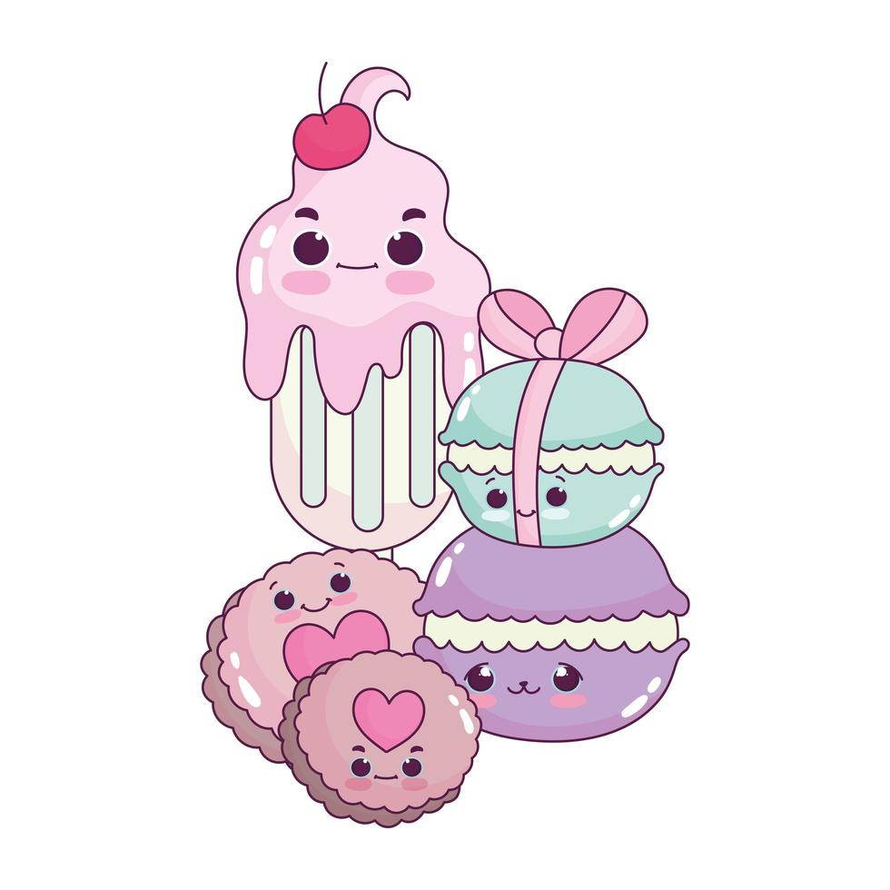 comida linda helados macarrones y galletas postre dulce pastelería dibujos animados diseño aislado vector