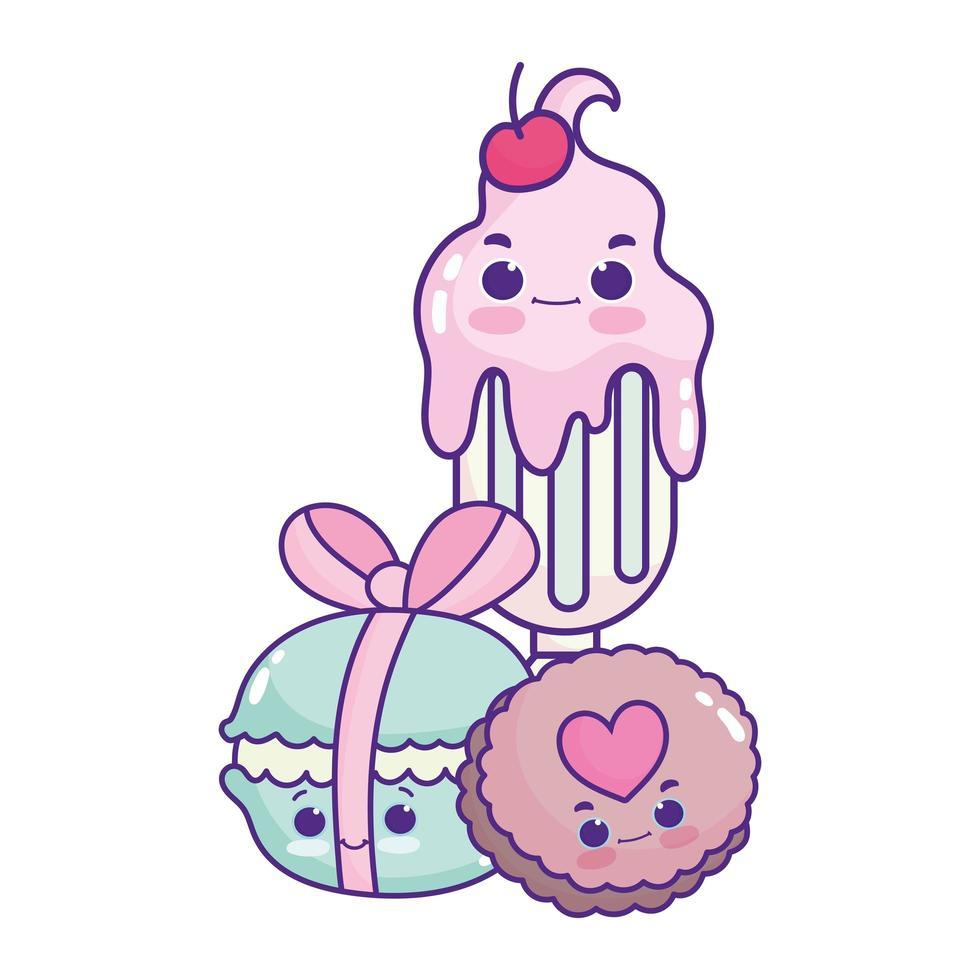 lindo alimento helado macarrones y galleta postre dulce pastelería dibujos animados diseño aislado vector
