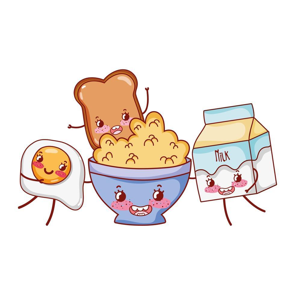 Desayuno lindo cereal huevo frito pan y leche kawaii cartoon vector