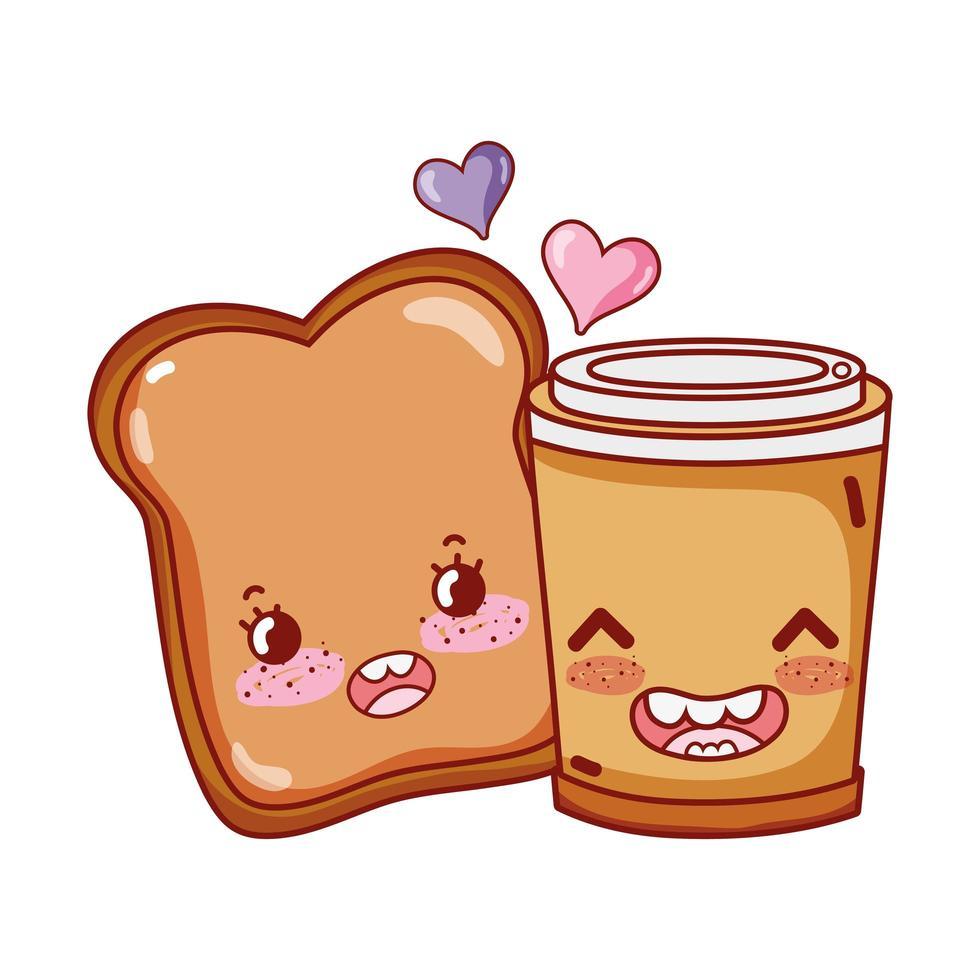 desayuno rebanada linda pan y taza de café desechable dibujos animados vector