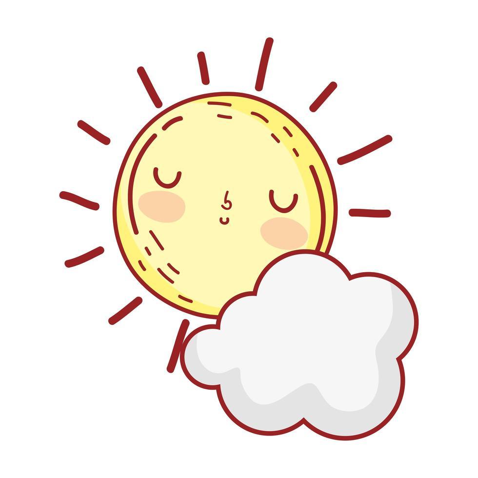 sol, clima, nube, verano, caricatura, aislado, icono vector