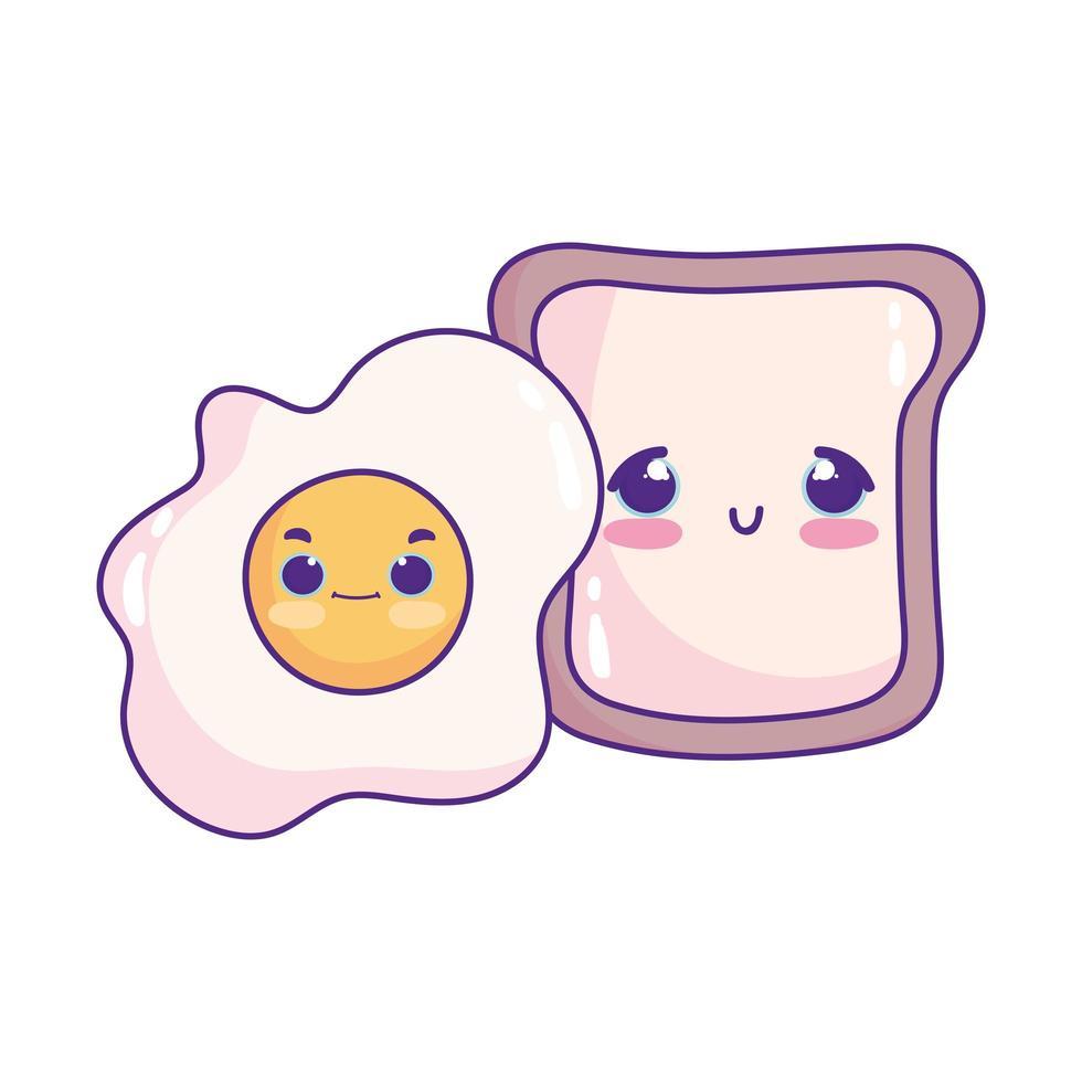 linda comida desayuno rebanada de pan y huevo frito postre dulce pastelería dibujos animados diseño aislado vector