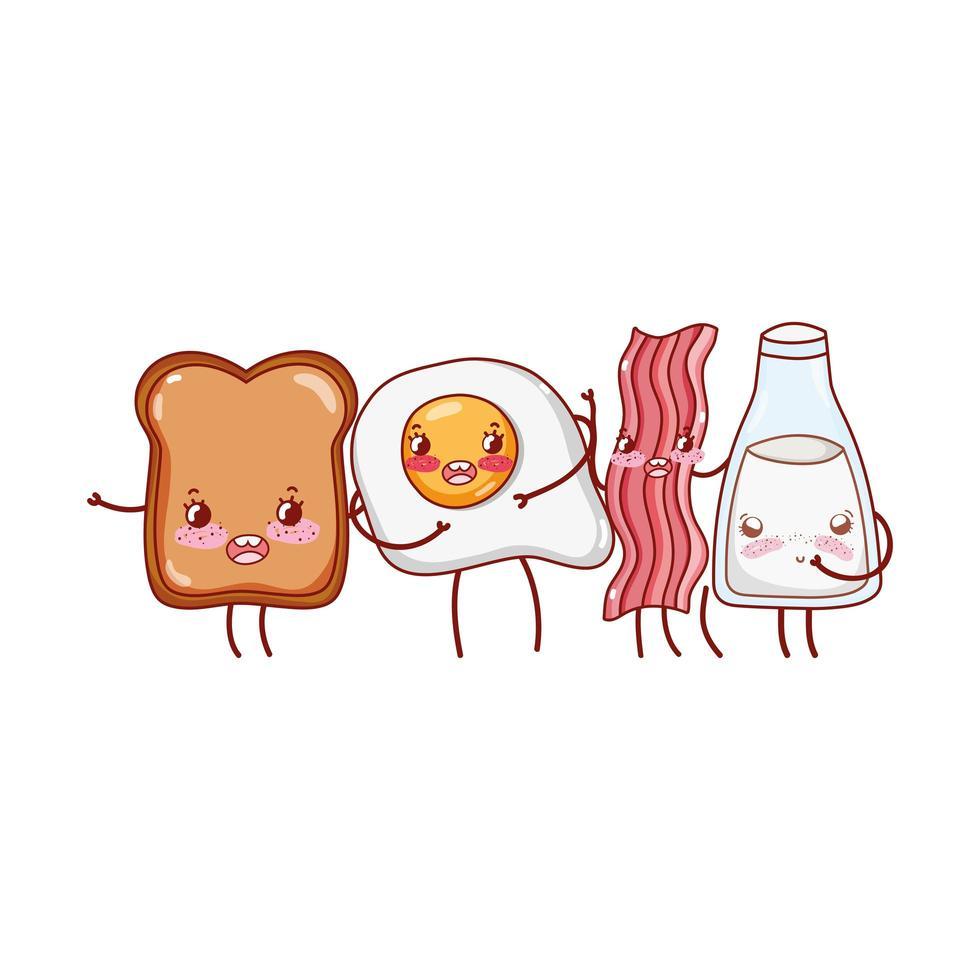 desayuno comida lindo pan huevo tocino leche personaje de dibujos animados vector