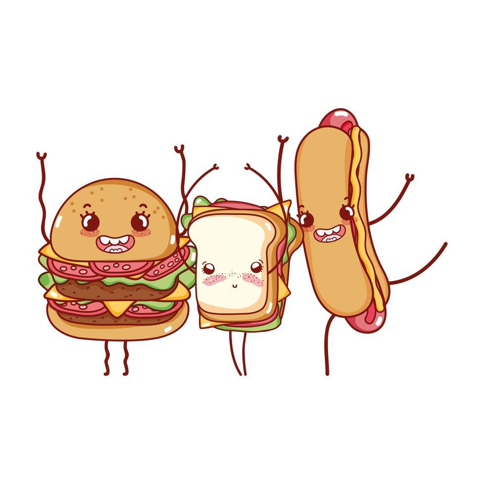 sándwich de hamburguesa lindo de comida rápida y dibujos animados de perrito caliente vector