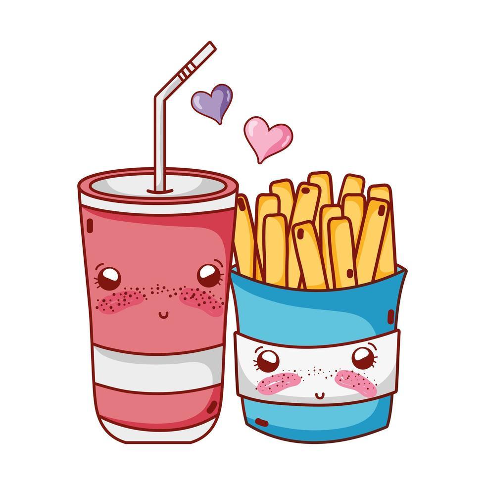 comida rápida lindas papas fritas y vaso de plástico soda paja amor dibujos animados vector