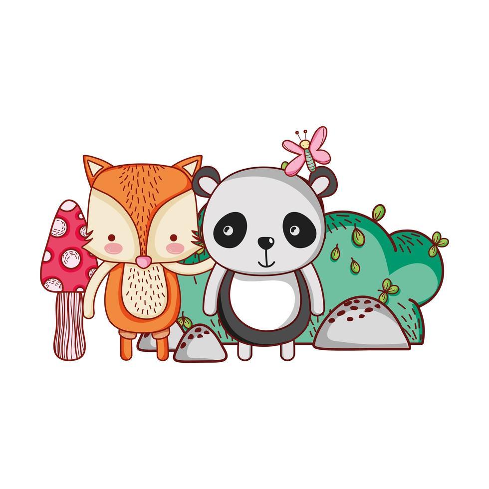 animales lindos, panda y zorro mariposa arbusto sol dibujos animados vector