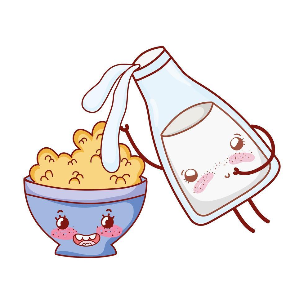 Desayuno lindo verter la leche en el tazón de cereal kawaii cartoon vector