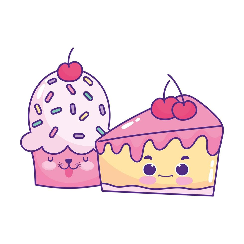 Cute food cupcake y slice cake cereza postre dulce pastelería dibujos animados diseño aislado vector
