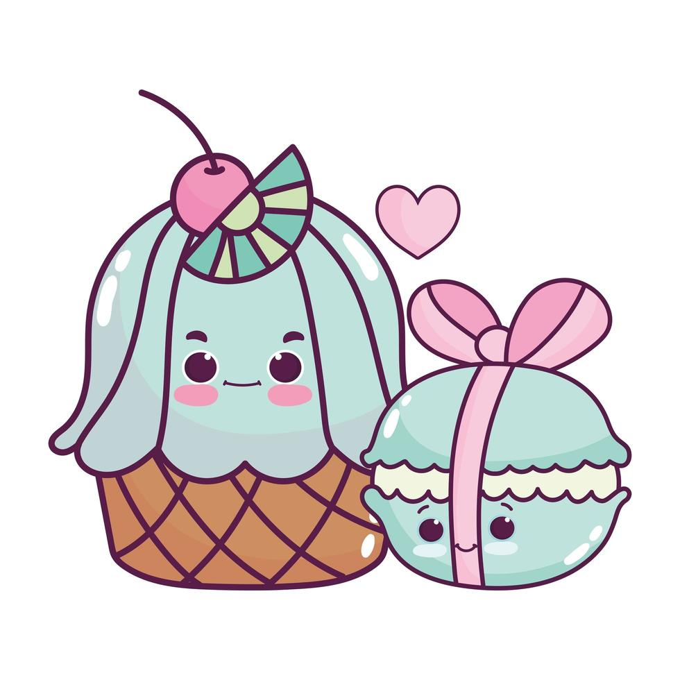 Magdalena de comida linda y macarrones con cinta de postre dulce pastelería diseño aislado de dibujos animados vector
