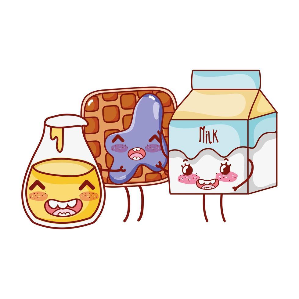 personaje de dibujos animados de botella de leche y miel de gofre lindo de comida rápida vector