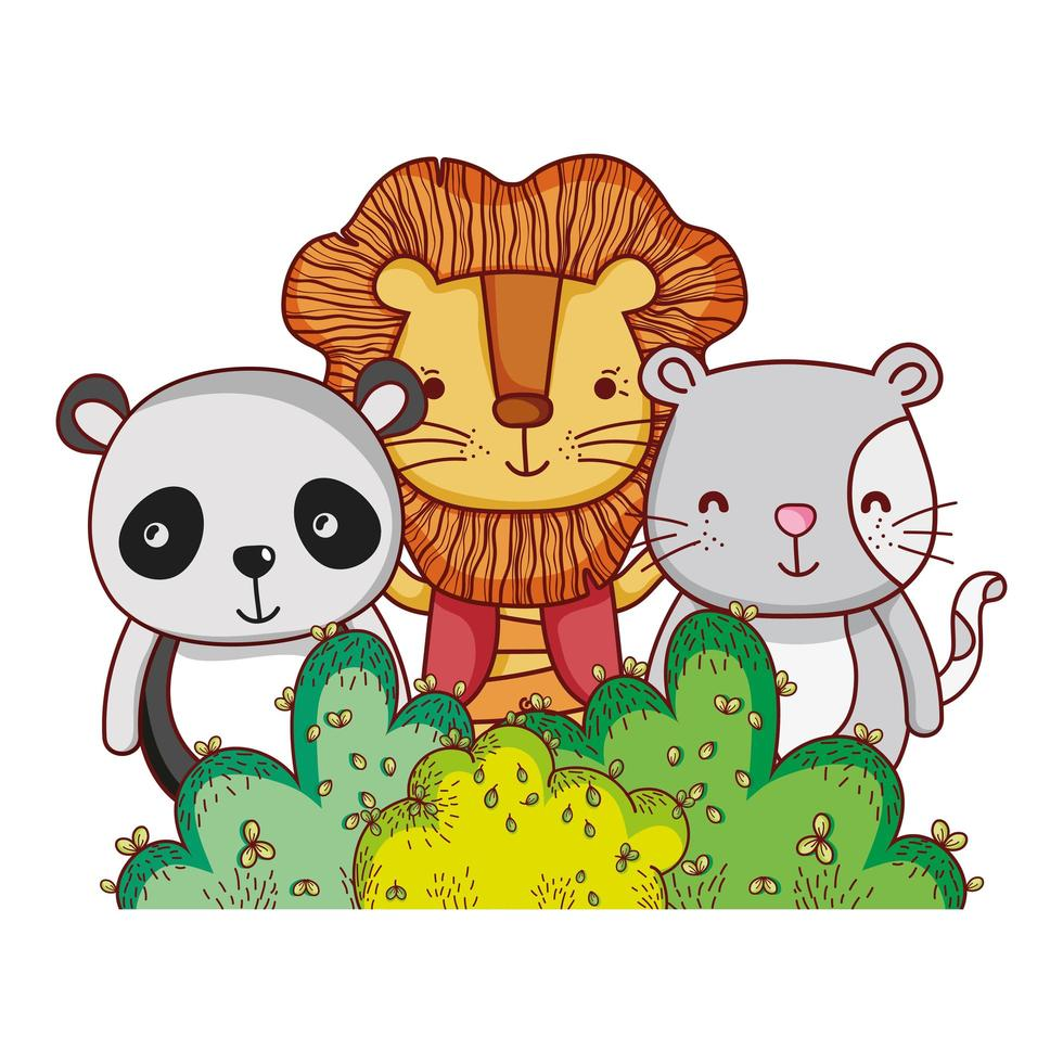 cute animals, lion panda and cat nature foliage bush nature botanical design vector