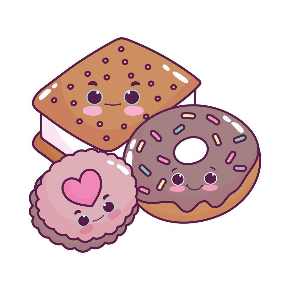 lindo alimento helado galleta donut y galleta postre dulce pastelería dibujos animados diseño aislado vector