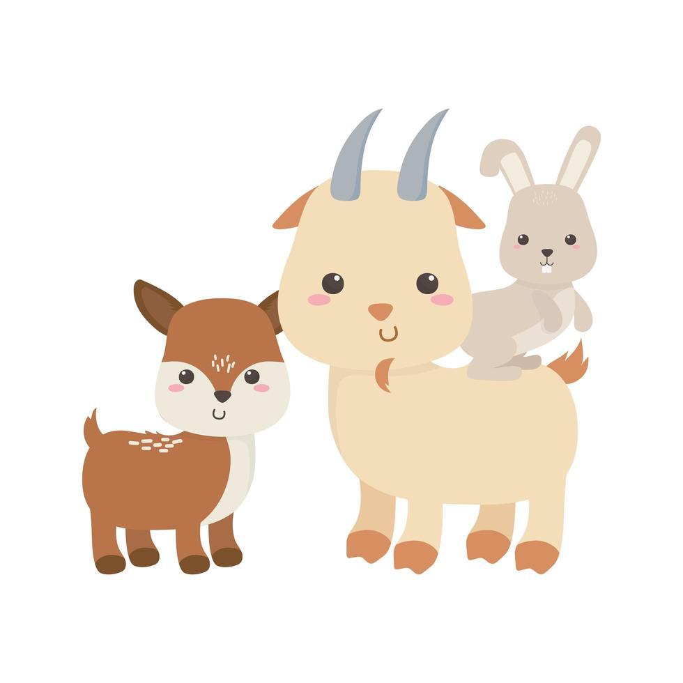 lindo ciervo, cabra y conejo, caricatura, animales, aislado, icono, diseño vector