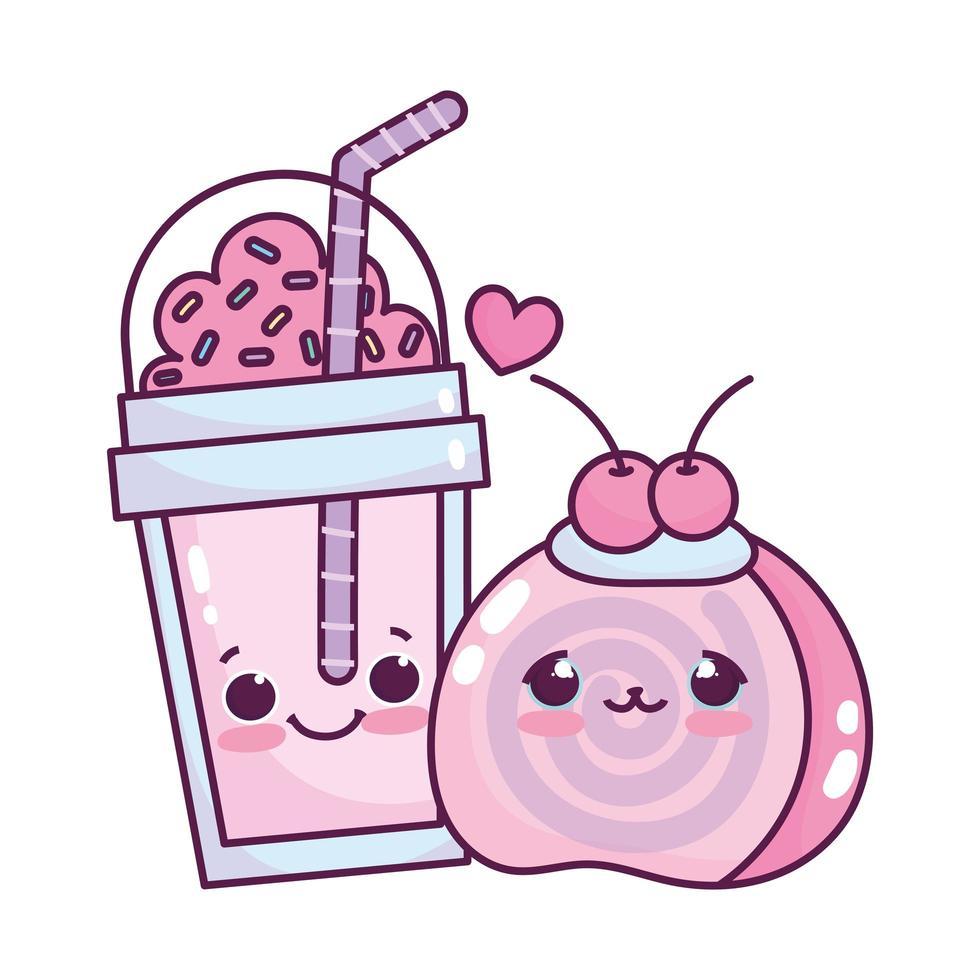 lindo alimento desechable taza batido y fruta dulce postre pastelería dibujos animados diseño aislado vector