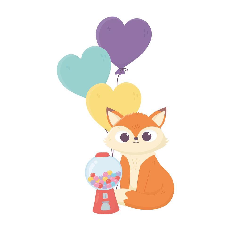 feliz día, pequeños caramelos de zorro y diseño de globos aislados vector