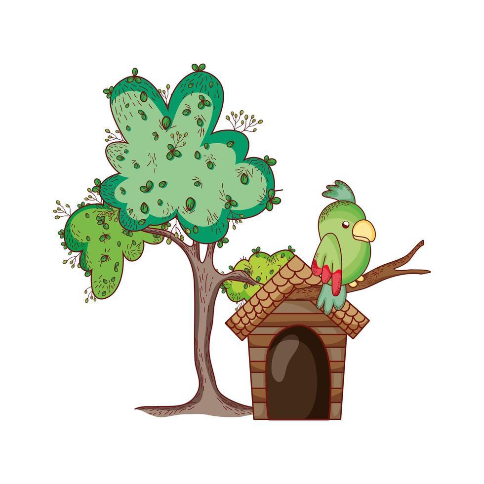 Animales lindos, loros en el diseño de icono aislado de dibujos animados de rama de árbol vector